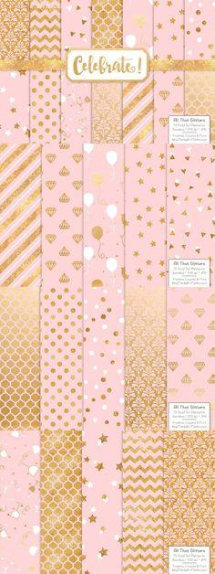 Soft Pink Gold Foil Digital Papers. Wedding Card Templates