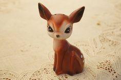 Vintage 50s Porcelain  Deer Figurine Salt by SycamoreVintage