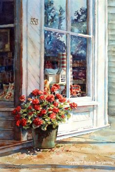 A Touch of Red Sonya Terpening Watercolour Painting, Watercolor Flowers, Watercolours, Watercolor Architecture, Illustration Art, Illustrations, Window Art, Art World, Painting Inspiration