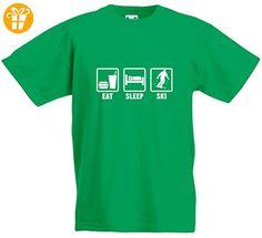 Eat Sleep Ski, Kind-druckten T-Shirt - Grün/Weiß 12-13 Jahre (*Partner-Link)