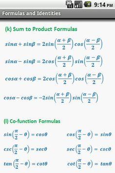 Digital Wish - Apps Center: Trigonometry Quick Reference Algebra Worksheets, Maths Algebra, Math Fractions, Mental Math Tricks, Math Formula Chart, Math Tutorials, Maths Formulas List, Math Quotes, Physics And Mathematics