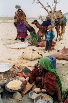 Afghan Nomads cook their food in Afghanistan