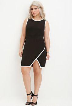 Plus Size Contrast-Trimmed Sheath Dress   Forever 21 PLUS - 2000145433