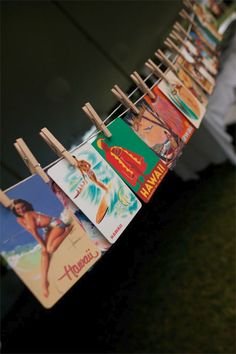 Vintage postcards on clothespin
