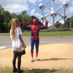 #whenimetspiderman#atomium#hewashappytoseeme#lol#fun#brussel#niceday#withmysister#swag#nikeaireforce#instamood#instagood