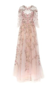 Flutter Sleeve Embroidered Gown by MARCHESA Now Available on Moda Operandi