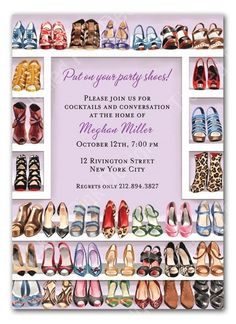 Stylish Shoe Closet Party Invitation  #bonniemarcus #tickledpinkdesign #bacheloretteparty