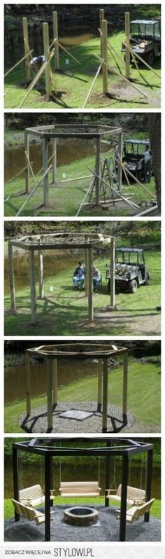 fire pit surrounded by swings