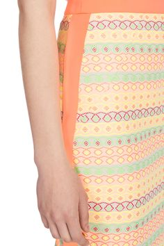 The neon side stripe on this skirt is a perfect juxtaposition to the pattern.