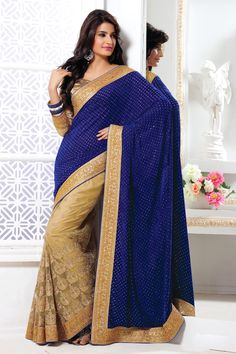 USD 193.87 Blue and Beige Border Work Half N Half Party Wear Saree 39405