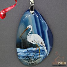 Hand Painte Swan Pendant For Necklace Gemstone With Silver Bail   ZL807323 #ZL #Pendant
