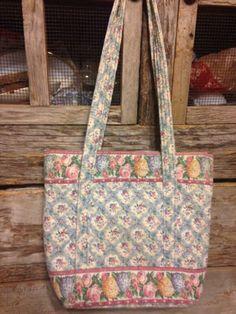 Vera Bradley Blue Pastel Large Shoulder Bag Zipper Closure Vintage White Floral