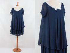 vintage navy dress, 90s vintage dress, 90s makes 20s 30s, charleston, gatsby style, navy blue dress, bow dress, blue dress, 30s style by MyLoftVintage on Etsy