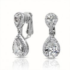 For brides who don't have pierced ears....Double Teardrop Clear CZ Clip On Bridal Dangle Earrings