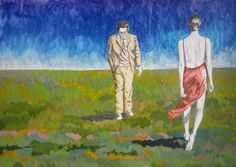 paseo de giacometti-lapiz color- 30 x 40