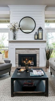 Living Room Design with Corner Fireplace. Living Room Design with Corner Fireplace. Two Storey Ceiling Living Room What I Loved Most About This Home Fireplace, Fireplace Remodel, Living Room With Fireplace, Fireplace Surrounds, Fireplace Design, Fireplace Ideas, Mantel Ideas, Shiplap Fireplace, Decorating Fireplace Mantels