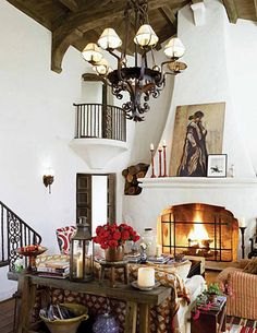 "rustic ""spanish"" style. Kathryn Ireland - I love the idea of that little end-table for making a little decorative scene :)"