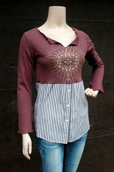 Boho Zen Shirt for Fall, Mandala, Junk Gypsy Style