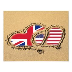 Shop Beach UK And USA Love Hearts Invitation created by Ricaso_Wedding. Personalize it with photos & text or purchase as is! Love Heart Drawing, Uk Beaches, Beach Theme Wedding Invitations, Uk Flag, Beach Uk, Heart Cards, Zazzle Invitations, Wedding Designs, Wedding Ideas