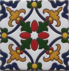 High relief Malibu Tile Classic Handmade Tiles, crafted by masterful Mexican artisans, skillfully hand painted, full of color. Combine colors and patterns to create your individual design and atmosphere with vibrant designs in creative ceramic tiles Tile Art, Mosaic Tiles, Tiling, Wall Tile, Mexican Ceramics, Mexican Tile Kitchen, Tuile, Mexican Art, Mexican Style