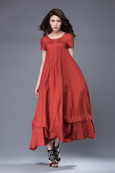 Casual Linen Dress Red Comfortable Loose-Fitted by YL1dress