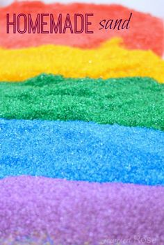 Make your own colored sand- so easy and so much cheaper than the store bought stuff! color mix, sand art, art crafts, food coloring, sensory play, color sand, bags, salt, kid