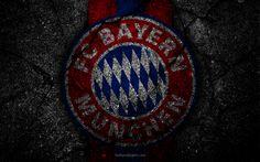 Descargar fondos de pantalla El Bayern de Múnich, el logotipo, el arte, la Bundesliga, la de fútbol, club de fútbol, FCB, asfalto, la textura, el FC Bayern de Múnich