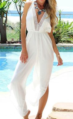 d6ae2ccba5ee9 White Plain Hollow-out Irregular Halter Backless V-neck Sexy Long Jumpsuit  - Jumpsuit Pants - Bottoms