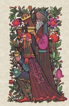 Three Kings Vintage Christmas Card
