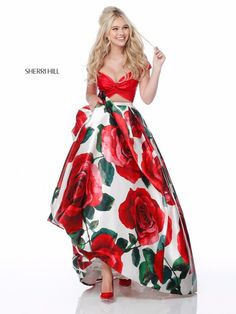 b1dd9546510 Sherri Hill 51815 Cap Sleeve 2018 Satin Red Rose Printed Long A Line Prom  Dresses