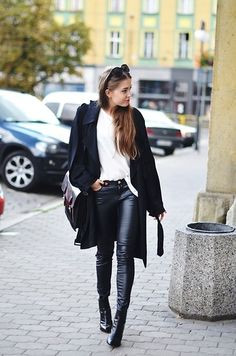 Black Glossed-Twill Trench Coat + leather pants