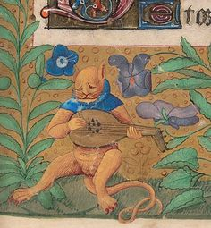 discardingimages: melancholic pussy-cat  book of hours, France 15th century. Beinecke Rare Book and Manuscript Library, MS 662, fol. 21r
