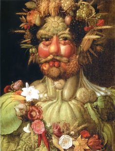 Giuseppe Arcimboldo: Giuseppe Arcimboldo (Italian, ca. Vertumnus (Portrait of Rudolf II), Oil on panel. x cm x 22 in. Giuseppe Arcimboldo, Italian Painters, Italian Artist, Blog Art, Google Art Project, Renaissance Artists, Italian Renaissance, Renaissance Food, Photo Images