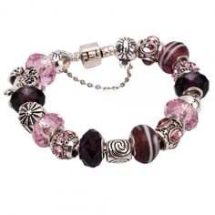 Pink and Purple Euro Charm Bracelet. Starting at $7 on Tophatter.com!