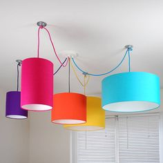 5 way multi outlet ceiling rose kit with coloured cable, lamp holders and plain bright lampshades.PLEASE NOTE - It is difficult to reproduce… Plafond Rose, Bright Colors, Colours, Ceiling Rose, Ceiling Lamp, Kids Ceiling Lights, Fabric Ceiling, Ceiling Pendant, Pendant Lights