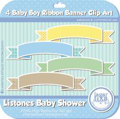 Baby boy digital Ribbons by Lagartixa por LagartixaShop en Etsy, $30.00