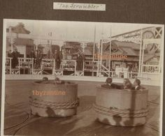 snap shot album page (stuck down photographs) of Fun Fair Rides at White City London photographs , including the Scrambler. for sale August 2019 by White City London, Fair Rides, Fun Fair, Royal Mail, Scrambler, The Row, United Kingdom, Photographs, Photo Wall