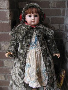 "LONG Faux Fur COAT & BONNET for Antique 24""-26\"" French Bebe or German Doll"