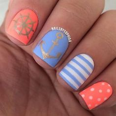 Latest easy simple nail designs for short nails to make at home.DIY striped nails,dotted nail art,french manicure for short nails,floral nail Anchor Nail Designs, Short Nail Designs, Simple Nail Designs, Nail Art Designs, Nails Design, Nail Designs For Summer, Nautical Nail Designs, Pedicure Designs, Nails With Anchor Design