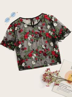 To find out about the Frilled Cuff Embroidered Mesh Top at SHEIN, part of our latest Women Tops ready to shop online today! Girls Fashion Clothes, Teen Fashion Outfits, Look Fashion, Girl Outfits, Clothes For Women, Girl Fashion, Fashion Black, Fashion Ideas, Crop Top Outfits