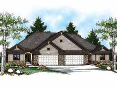 Duplex with Economical Floor Plan (HWBDO14230) | Ranch House Plan ...