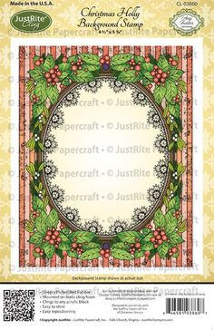 Christmas Holly Background Cling Stamp