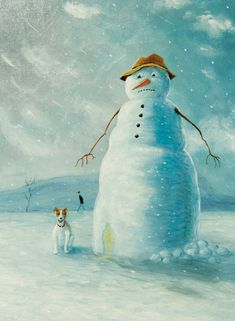A humorous oil painted design by Croydon born artist Chris Ross Williamson featuring a Jack Russell and a rather unimpressed snowman! Your personalisationd details are printed directly onto the inside of his deisgn Gloss Finish. Corporate Christmas Cards, Charity Christmas Cards, Personalised Christmas Cards, Xmas Cards, Greeting Cards, Croydon, Paint Designs, Christmas Time, Snowman