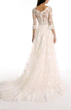 Tsbridal Lace Wedding Dress 2016 3/4 Sleeves Bohemian Wedding DressXC043-Ivory2