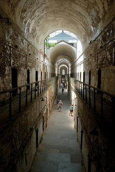 """Eastern State Penitentiary (Philadelphia): the world's first """"penitentiary,"""" meant to be humane, but drove men insane.  Cause and effect?"""