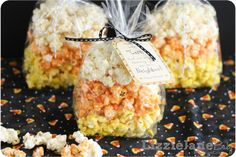 Candy corn pop corn! Such a cute idea for Halloween!