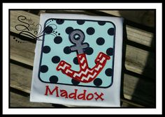 Anchor Box Applique Shirt or Bodysuit with FREE by AprylEatman, $20.00