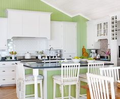 Panel Walls - Love the bright colorful space and the paneled walls!