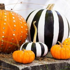 Last-minute creative ways to decorate your pumpkin.We love the black and white stripes!