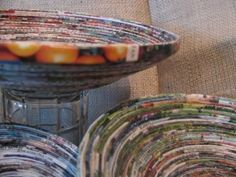 Magazine Paper Bowl: Always something I wanted to try, looks simple enough and time consuming. A good way to get rid of old magazines. Need: old paper or magazines, lots o'glue, and time. Click link to find out more.